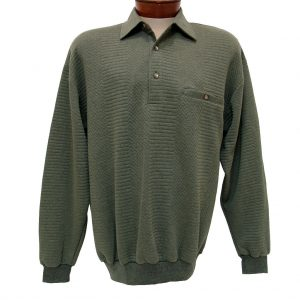 Men's Classics – LD Sport By Palmland Long Sleeve Solid Textured Banded Bottom Shirt #6094-950, Olive Heather