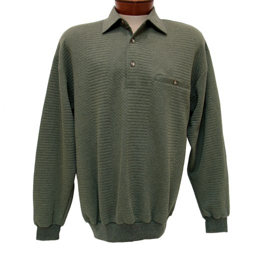 Men's LD Sport By Palmland® Long Sleeve Solid Textured Banded Bottom Shirt #6094-950-36 Olive Heather