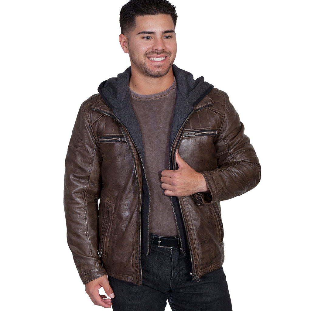 Men's Scully® Antique Brown Lamb Leather Jacket With Zip Out Front And Hood #609