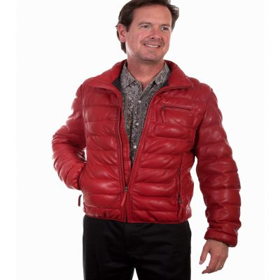 Scully® Men's Comtemporary Ribbed Soft Lambskin Leather Jacket #512 Red
