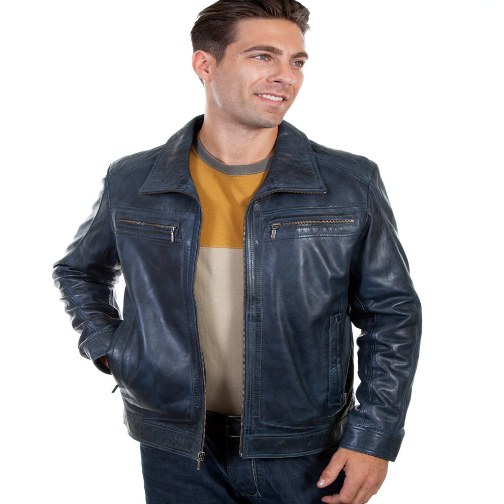 Men's Scully® Premium Lambskin Leather Jacket #42 Denim