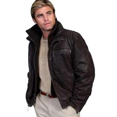 Men's Scully® Frontier Leather jacket with zip-out knit collar #400 Brown