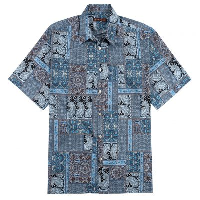 Men's Tori Richard® Cotton Lawn Relaxed Fit Short Sleeve Shirt, Casablanca #6446 Black