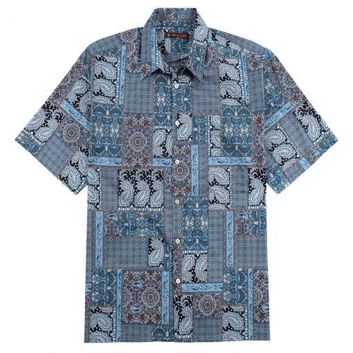 Men's Tori Richard® Cotton Lawn Relaxed Fit Short Sleeve Shirt, Casablanca #6446 Black