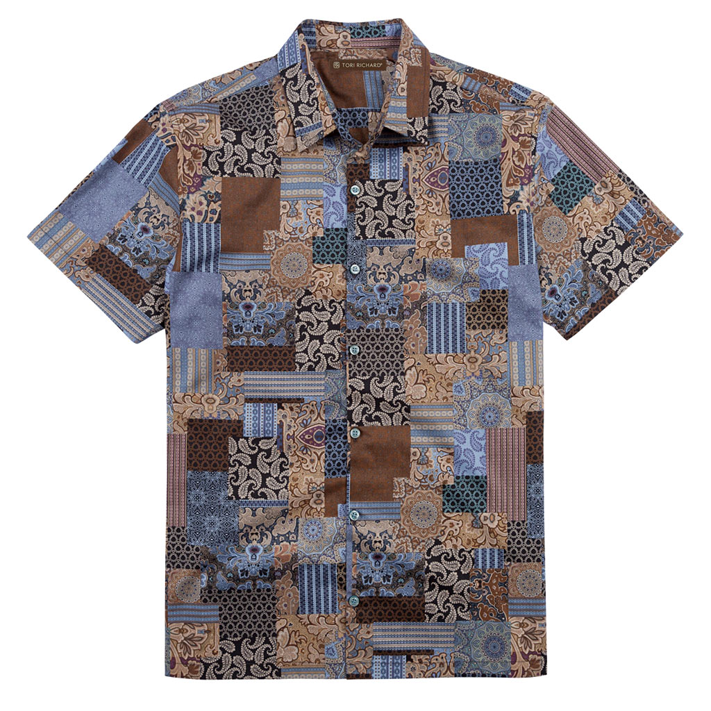 Men's Tori Richard® Cotton Lawn Relaxed Fit Short Sleeve Shirt, London Square #6402 Black
