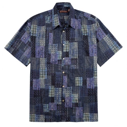 Men's Tori Richard® Cotton Lawn Relaxed Fit Short Sleeve Shirt, Promenade #6408 Black
