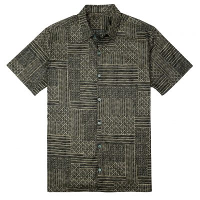 Men's Tori Richard® Cotton Lawn Relaxed Fit Short Sleeve Shirt, Spring Field #6397 Black