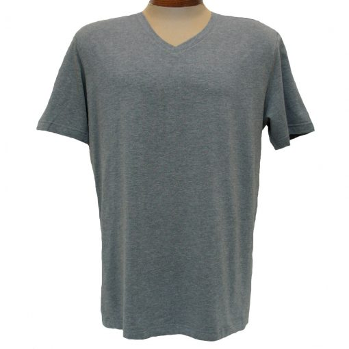 Men's Vannucci Couture® Short Sleeve Super Soft Cotton Model Blend V-Neck Tee, Charcoal