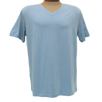 Men's Vannucci Couture® Short Sleeve Super Soft Cotton Model Blend V-Neck Tee, Light Blue