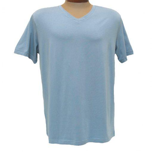 Men's Vannucci Couture® Short Sleeve Super Soft Cotton Model Blend V-Neck Tee, Light Blue