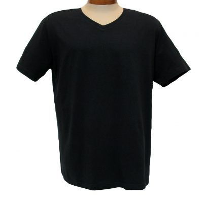 Men's Vannucci Couture® Short Sleeve Super Soft Cotton Model Blend V-Neck Tee, Black
