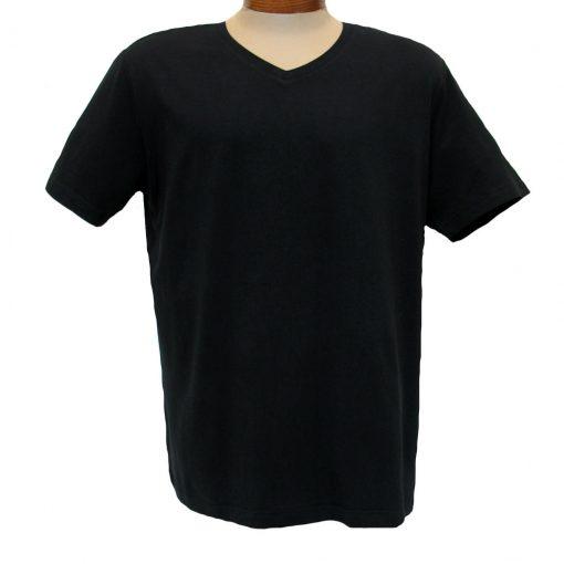 Men's Vannucci Couture® Short Sleeve Super Soft Cotton Model Blend V-Neck Tee, Black