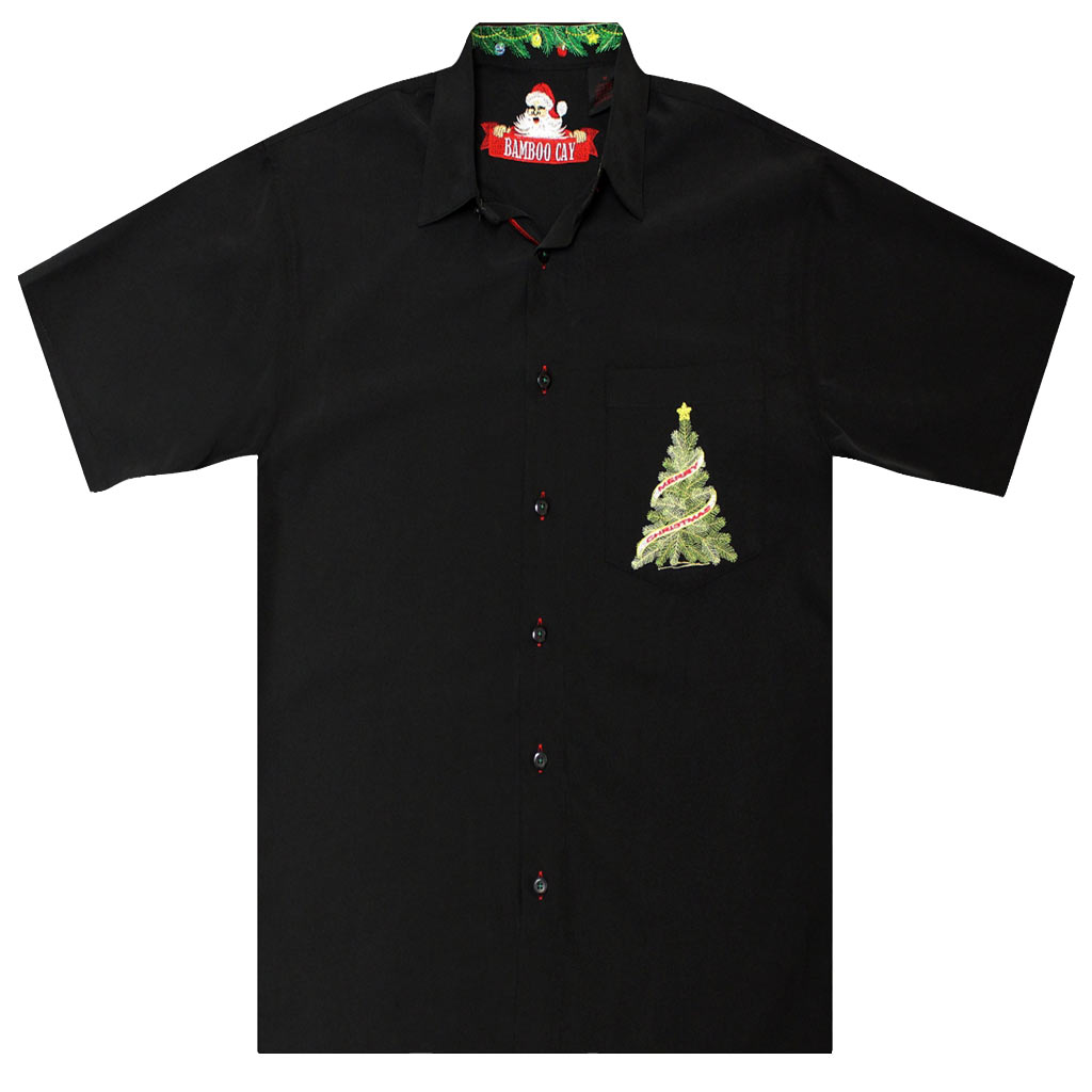 Men's Bamboo Cay® Short Sleeve Embroidered Limited Addition Christmas Shirt, O Christmas Tree