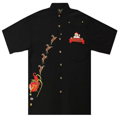 Men's Bamboo Cay® Short Sleeve Embroidered Limited Addition Christmas Shirt, Peekaboo Santa Black