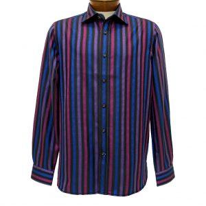 Men's Brandolini® 100% Cotton Long Sleeve Woven Jewel Stripe Sport Shirt With Contrast Trim, #1013 Multi