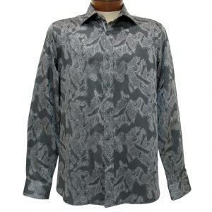 Men's Brandolini® 100% Cotton Long Sleeve Woven Sport Shirt With Contrast Trim, #1018 Charcoal (L, ONLY!)
