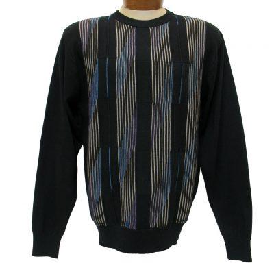 Men's F/X Fusion® Textured Front Colorblock Triangular Striped Long Sleeve Crew Neck Sweater #755 Black