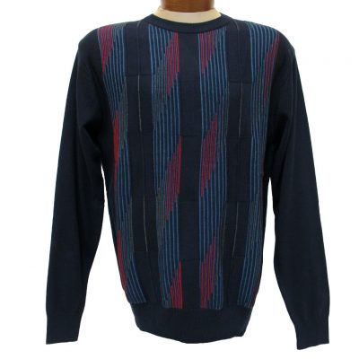 Men's F/X Fusion® Textured Front Colorblock Triangular Striped Long Sleeve Crew Neck Sweater #755 Navy