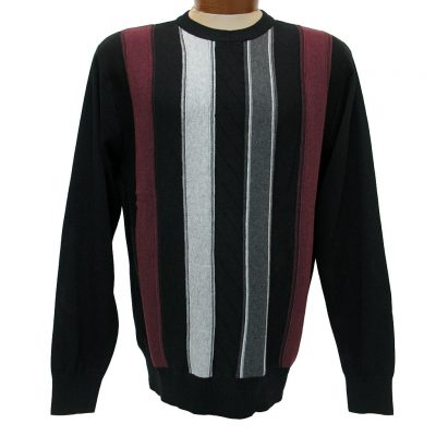 Men's F/X Fusion® Textured Front Vertival Stripe Long Sleeve Crew Neck Sweater #756 Black