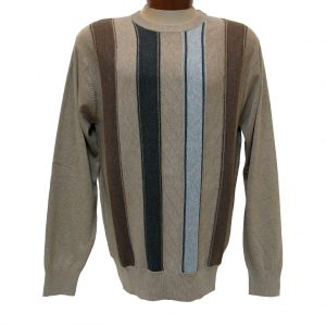 Men's F/X Fusion® Textured Front Vertival Stripe Long Sleeve Crew Neck Sweater #756 Tan Heather (M & L, ONLY!)