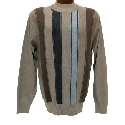 Men's F/X Fusion® Textured Front Vertival Stripe Long Sleeve Crew Neck Sweater #756 Tan Heather