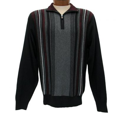 Men's F/X Fusion® Textured Front Vertival Stripe Long Sleeve 1/4 Zip Mock Neck Sweater #760 Black