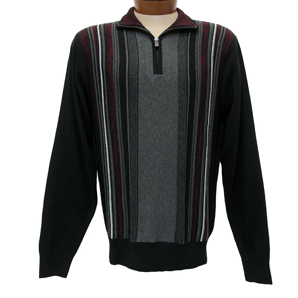 Men's F/X Fusion® Textured Front Vertival Stripe Long Sleeve 1/4 Zip Mock Neck Sweater #760 Black