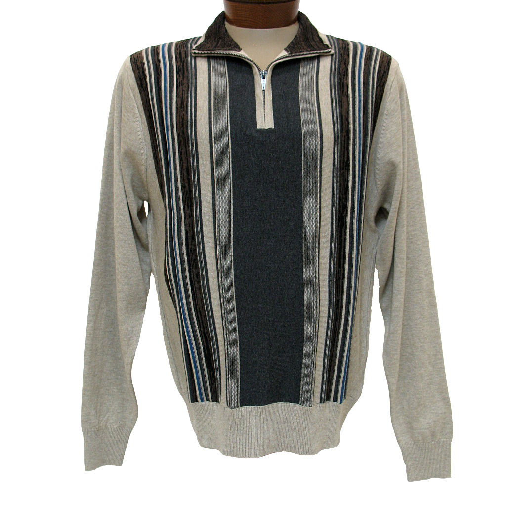 Men's F/X Fusion® Textured Front Vertival Stripe Long Sleeve 1/4 Zip Mock Neck Sweater #760 Oatmeal Heather