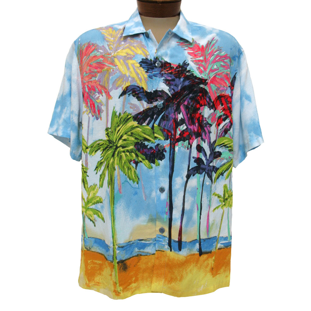 Men's Jams World® Short Sleeve Crushed Rayon Retro Aloah Shirt, Coco Palm