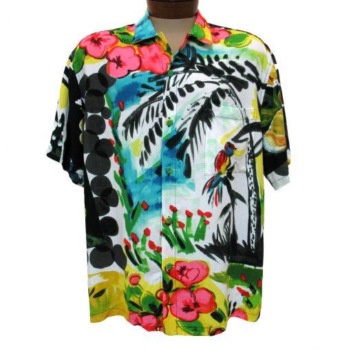 Mens Jams World Crushed Rayon Short Sleeve Retro Aloha Shirt Parrot Cove Front