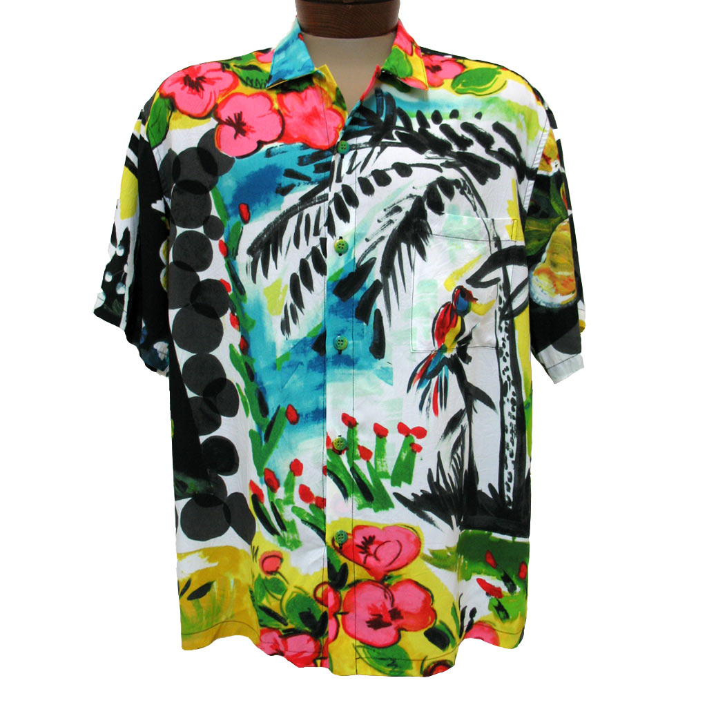 Men's Jams World® Short Sleeve Crushed Rayon Retro Aloah Shirt, Parrot Cove