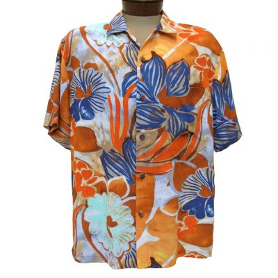 Men's Jams World® Short Sleeve Crushed Rayon Retro Aloah Shirt, Serenity