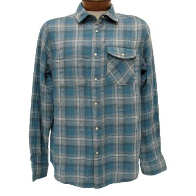 Men's Jeremiah® Long Sleeve 100% Cotton Reversible Plaid With Print, Elias Teal