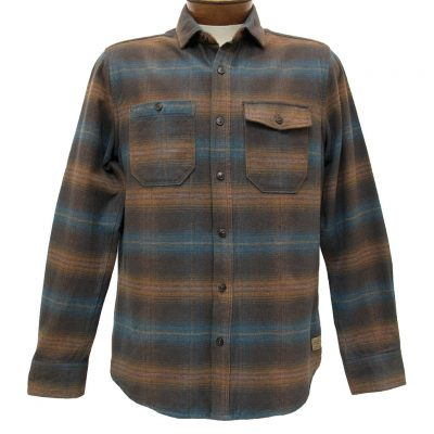 Men's Jeremiah® Long Sleeve 100% Cotton Brushed Twill Plaid Shirt, Canyon Bittersweet