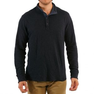 "Men's Jeremiah® Long Sleeve 100% Cotton Reversible Slub Mock Jersey, Mitch Black Heather ""USE COUPON J4 AT CHECK OUT"""