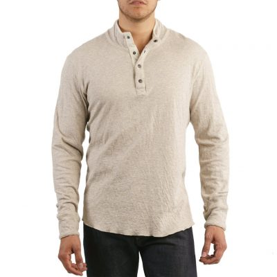Men's Jeremiah® Long Sleeve 100% Cotton Reversible Slub Mock Jersey, Mitch Taupe Heather