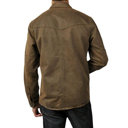 Men's Jeremiah® Long Sleeve Suede Cotton Snap Button Front Shirt Jacket, Colt Mole