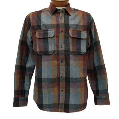 Men's Jeremiah® Long Sleeve Poly Wool Brushed Twill Plaid Shirt, Heath Burgundy