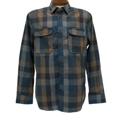 Men's Jeremiah® Long Sleeve Poly Wool Brushed Twill Plaid Shirt, Heath Groundhog Heather