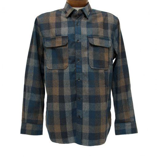 Men's Jeremiah® Long Sleeve Poly Wool Brushed Twill Plaid Shirt, Heath Groundhog Heather