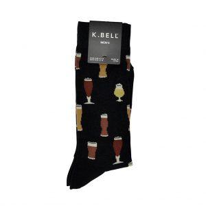Men's K. BELL® Novelty Crew Socks Craft Beers, Black