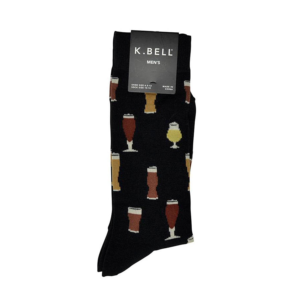 Men's K. BELL® Novelty Crew Socks Craft Beers, Black
