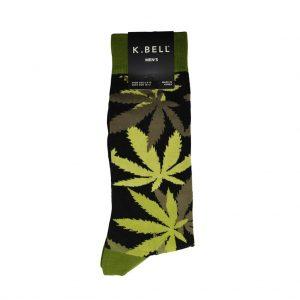 Men's K. BELL® Novelty Crew Socks, Pot Luck! Green