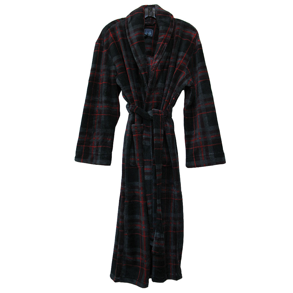 Majestic International® Boulevard Plush Fleece Shawl Collar Robe, Black Plaid