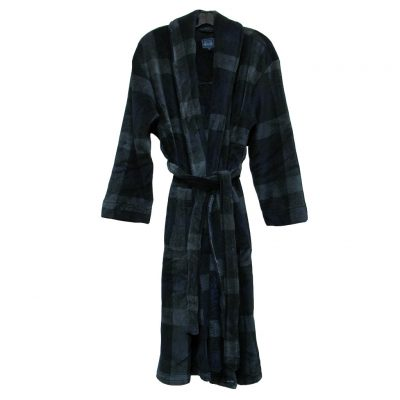 Majestic International® Boulevard Plush Fleece Shawl Collar Robe, Black Squares