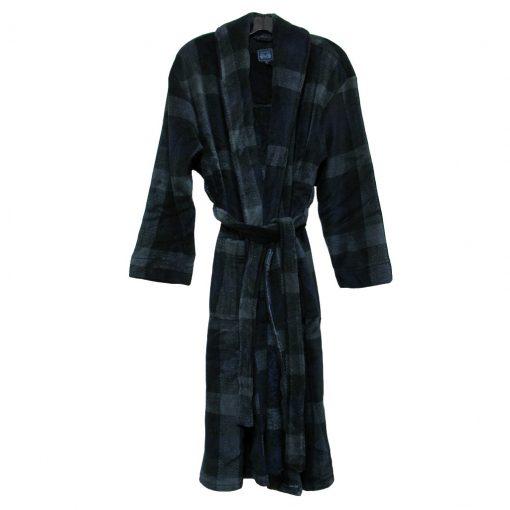 Majestic International® Boulevard Plush Fleece Shawl Collar Robe, Black Squares