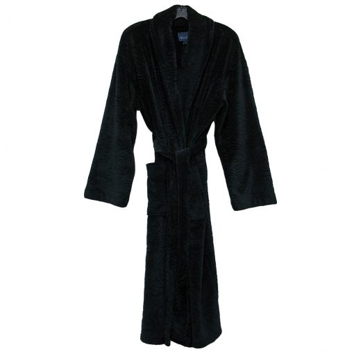 Majestic International® Midtown Plush Fleece Shawl Collar Robe, Black Paisley