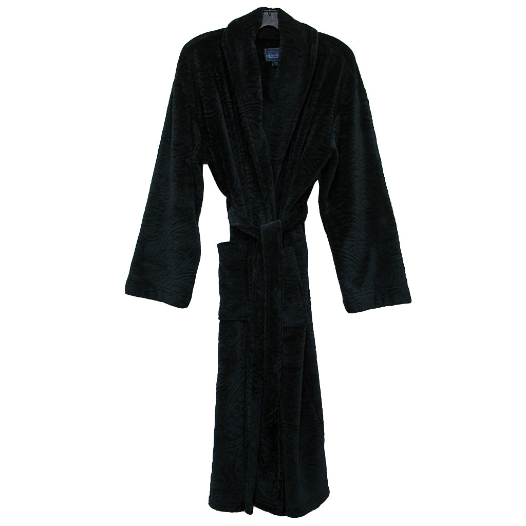 Majestic International® Midtown Plush Fleece Shawl Collar Robe, Black Paisley