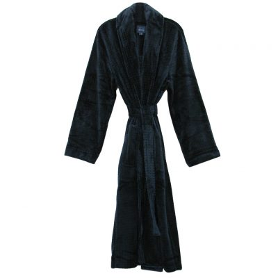 Majestic International Snowball Showdown Solid Plush Fleece Shawl Collar Robe, Navy