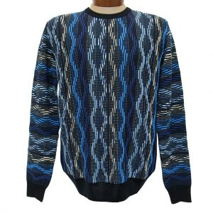 Men's Montechiaro® Made in Italy Long Sleeve Textured Crew Neck Sweater #161253 Blue (XXL, ONLY!)